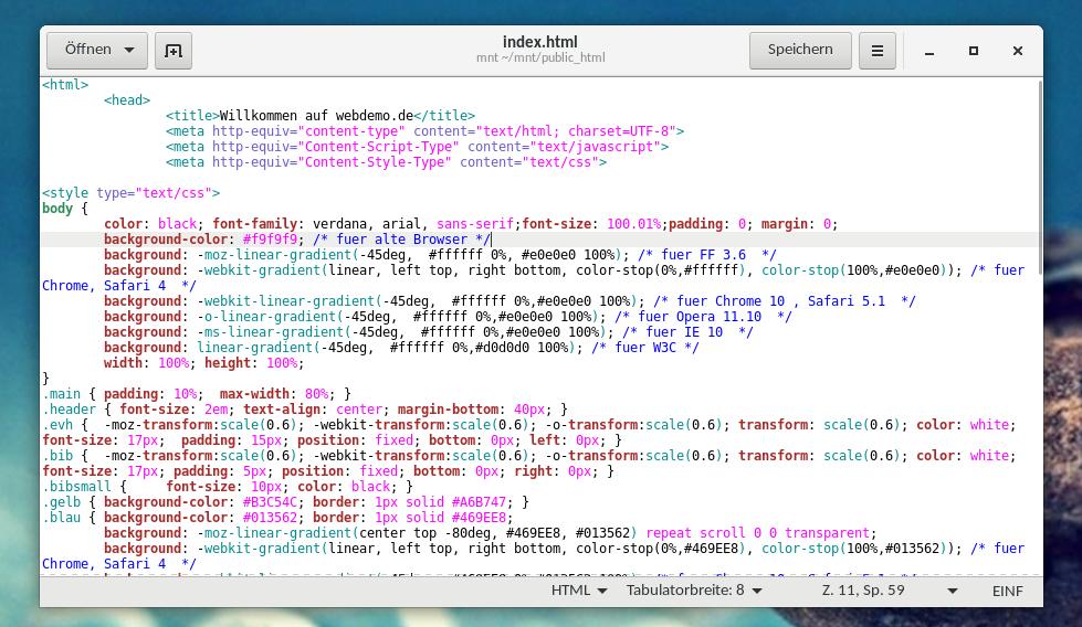 Datei des Webservers in GEdit