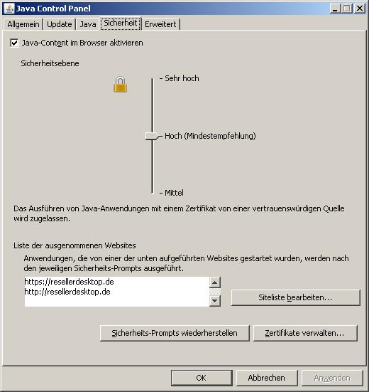 Sicherheitseinstellungen von Java unter Windows