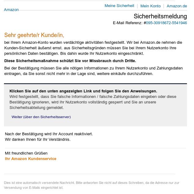 Phisingmail für Amazondienste