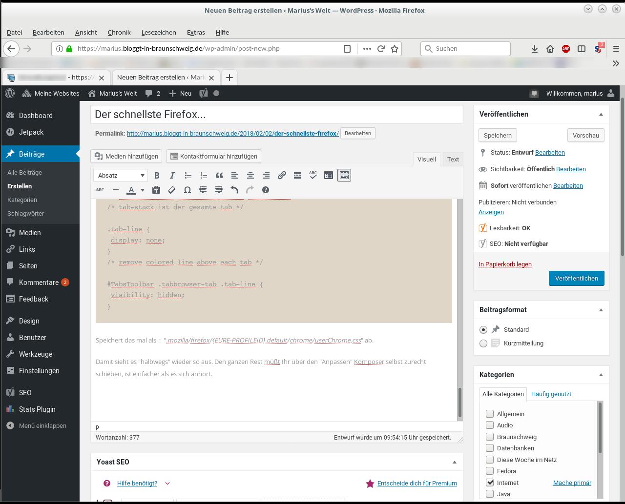Ein Beispiel für die Anpassungen vom Firefoxlayout. Man sieht den Editor von WordPress mit den Firefox Layoutanpassungen.