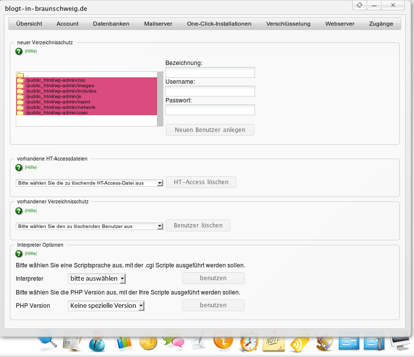Admin-Weboberfläche nach dem Anlegen des Benutzers
