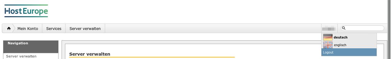 Das Webinterface von Host Europe zeigt keine Buttons oder UI-Elemente, dafür ein Nummer unbekannter Herkunft und funktion, aus der ein PULL-DOWN Menü erwächst.