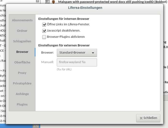 Liferea Einstellungen tools - browser