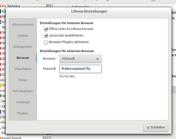 immernoch die Browsereinstellungen in Liferea