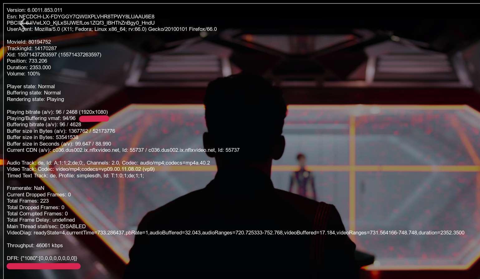 Scene aus NetFlix: Star Trek Discovery mit Statistiken