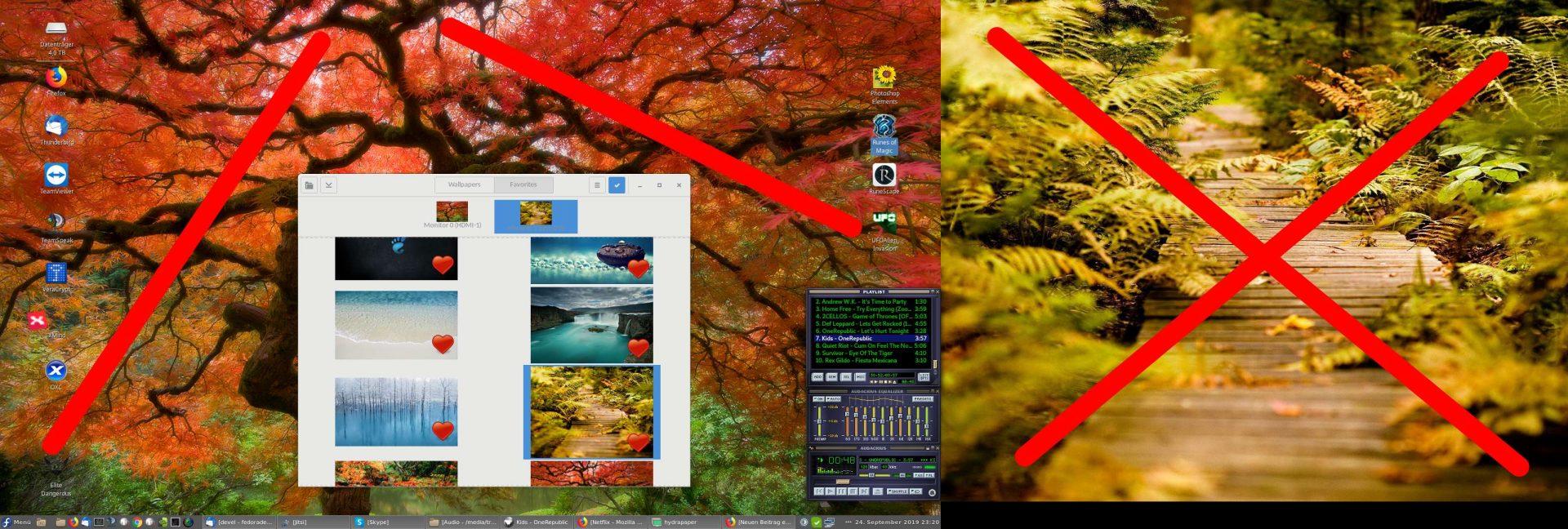 man sieht zwei verschiedene Hintergrundbilder und die Hydrapapers gui.
