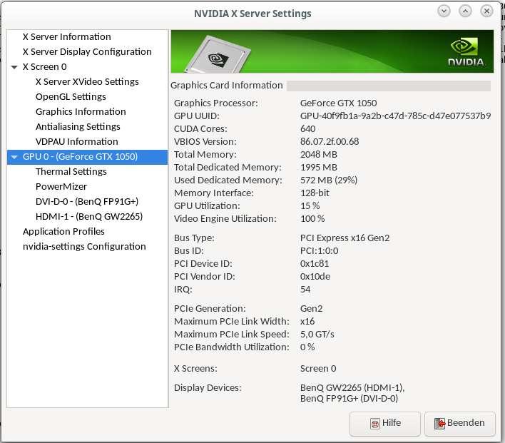 Auslastung einer Nvidia GTX1050