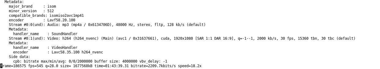 Eine Ausgabe in der Bashshell von ffmpeg beim Nutzen von Nvidia GPUs