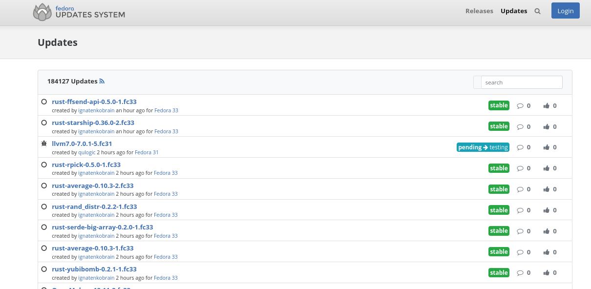 Man sieht eine Liste mit Updates, welche genau, ist für das Thema komplett egal.