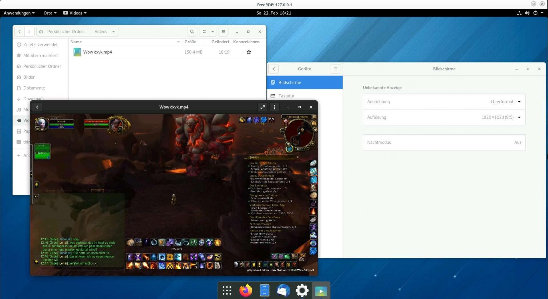 Ein GNOME Remotearbeitsplatz mit laufendem Video