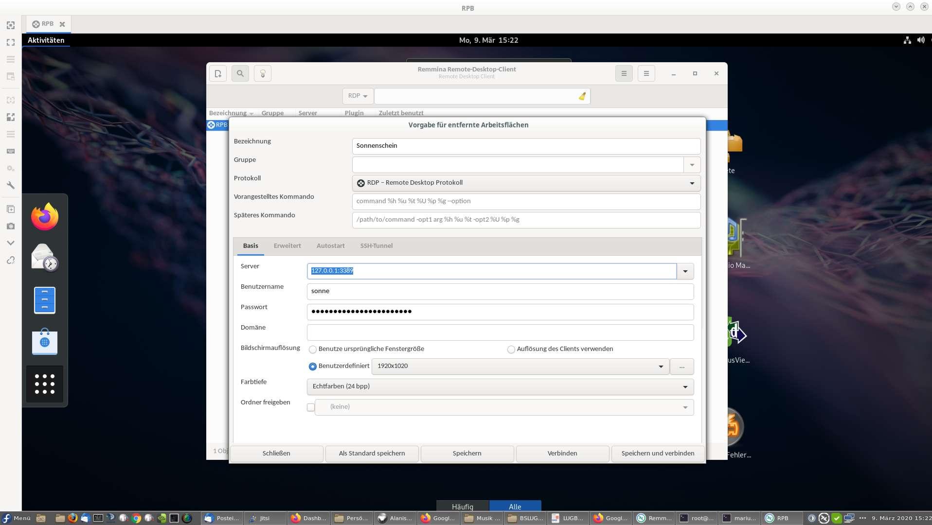 am sieht im Hintegrund bereits den eingeloggten RDP Desktop und im Vordergrund die Basiseinstellungen von Remmina für diese Verbindung.