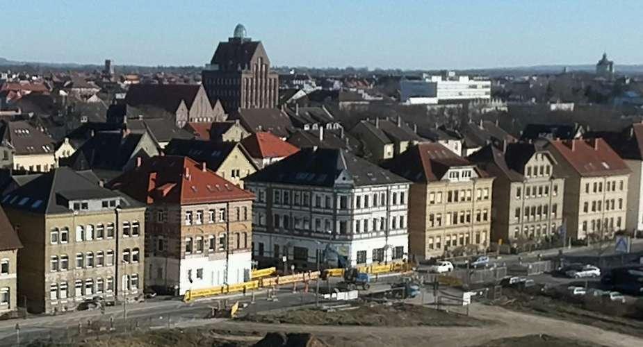 zu sehehn ist eine Baustelle aus der Vogelperspektive Kreuzung Mittelweg/Nordstraße