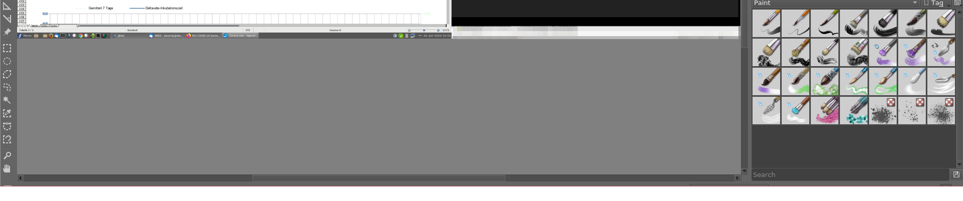 Es wird ein Bild ohne Iconleiste den Windowmanagers Cinnamon gezeigt, das beweißt, daß die horozontale Scrollbar unter der Leiste von Cinnamon liegt