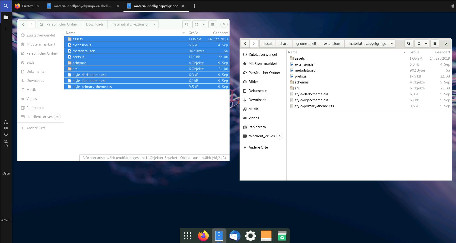 Zwei Dateibrowser mit Inhalt einer Gnome-Erweiterung beim kopieren von Dateien