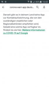 Fehlermeldung von Google Playstore, wenn manc nahc Corona App sucht.